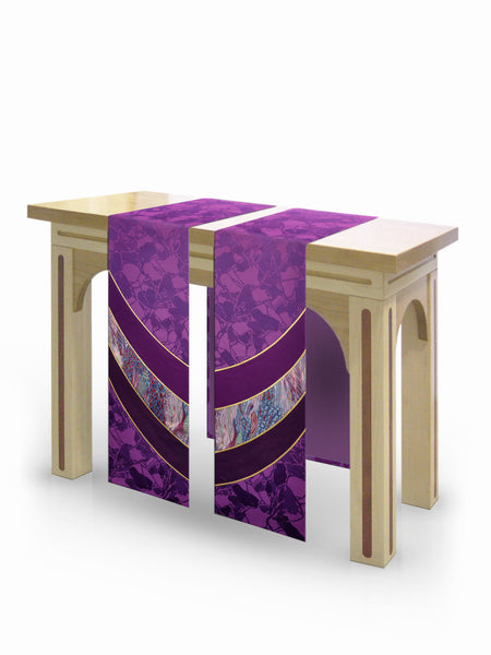 The Francis Curvilinear Bella Purple & Monet Purple Altar Scarves