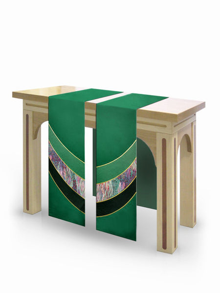 The Francis Curvilinear Duomo Green & Monet Green <br> Altar Scarves