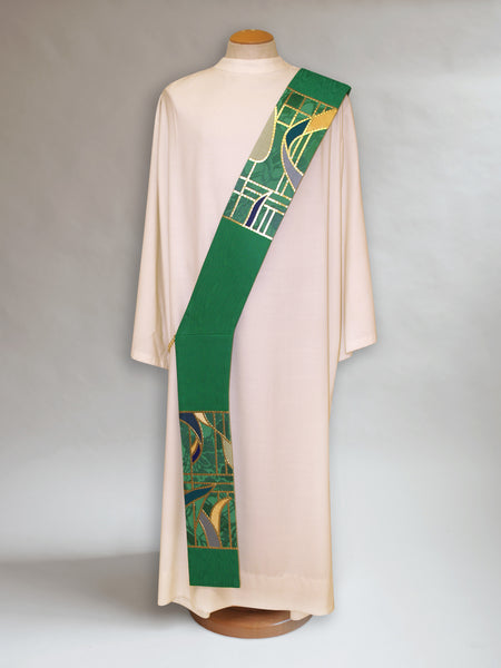 Ordinary Time Stained Glass Deacon Stole