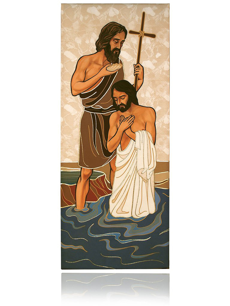 Jesus being baptized by John
