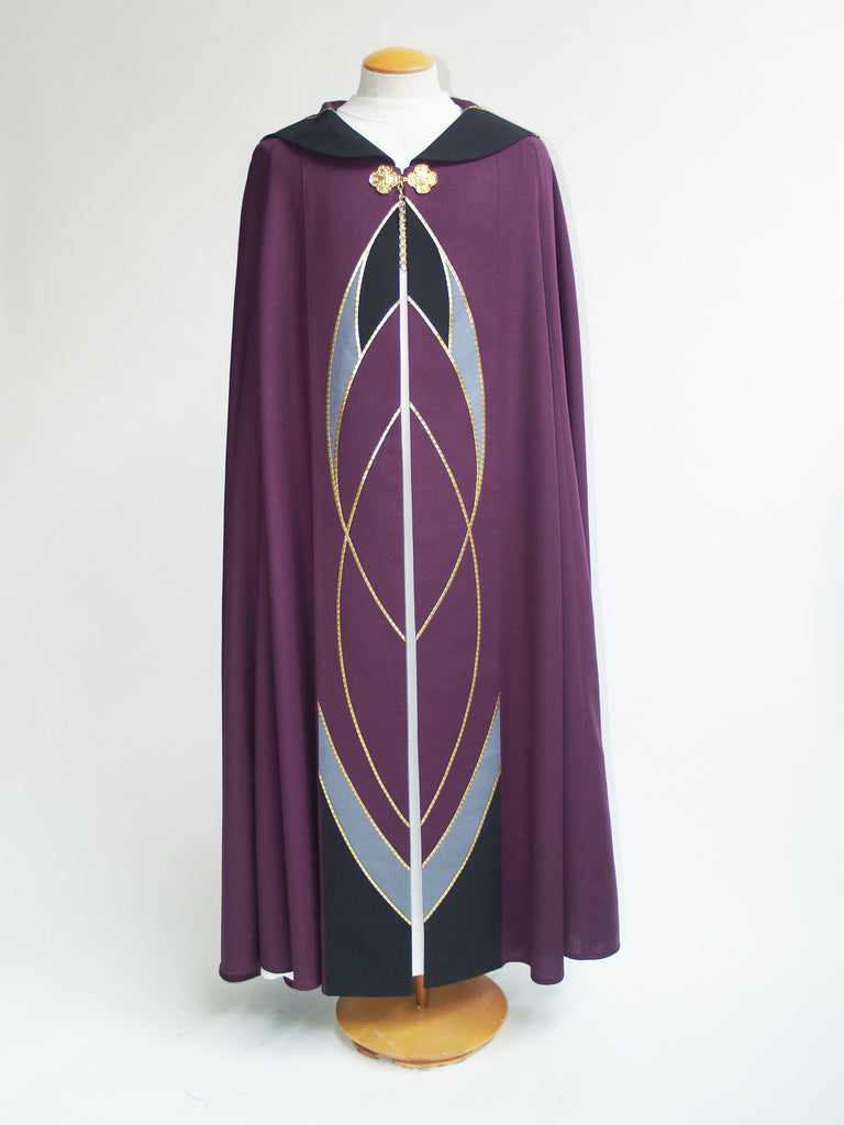 purple curvilinear cope for lent and funerals