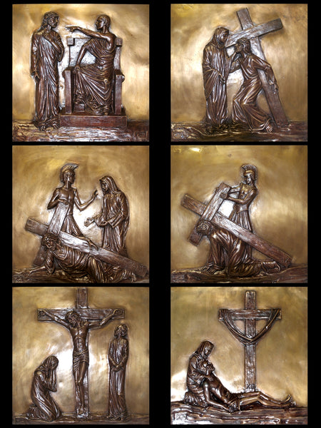 Stations of the Cross in 2 Tone Bronze