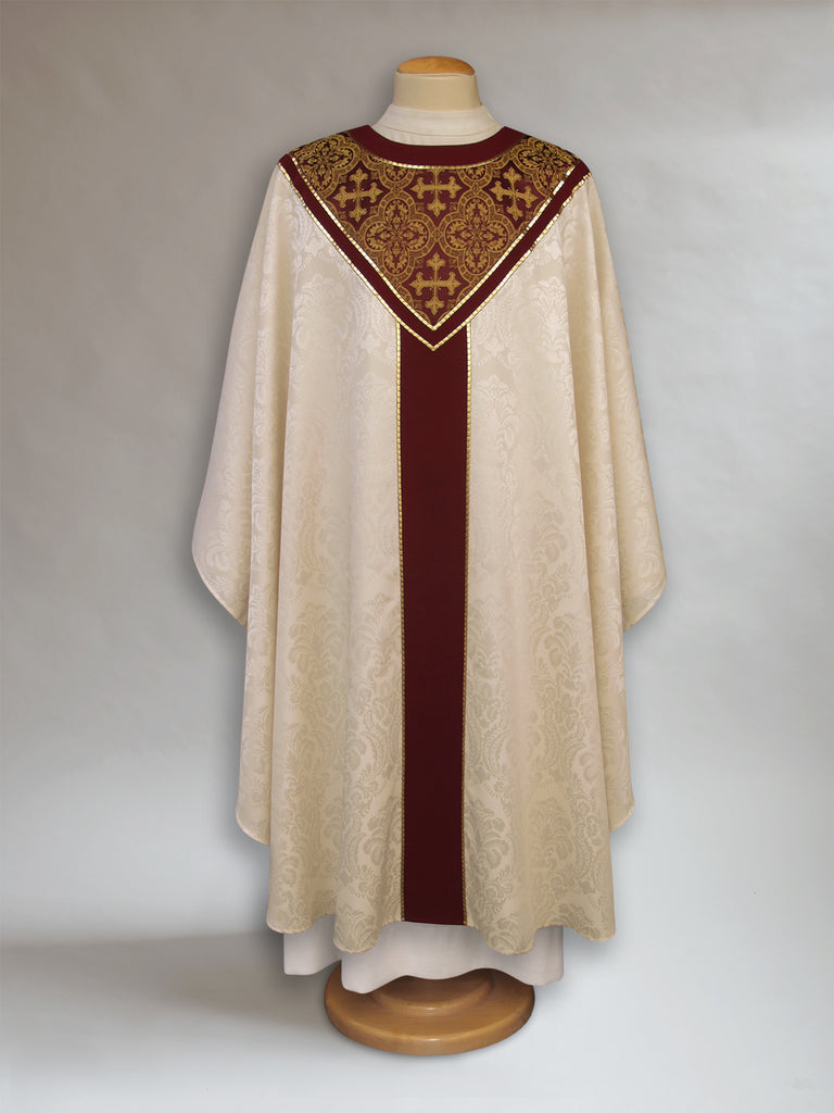 Solemn Florence Ecru & Burgundy Chasuble