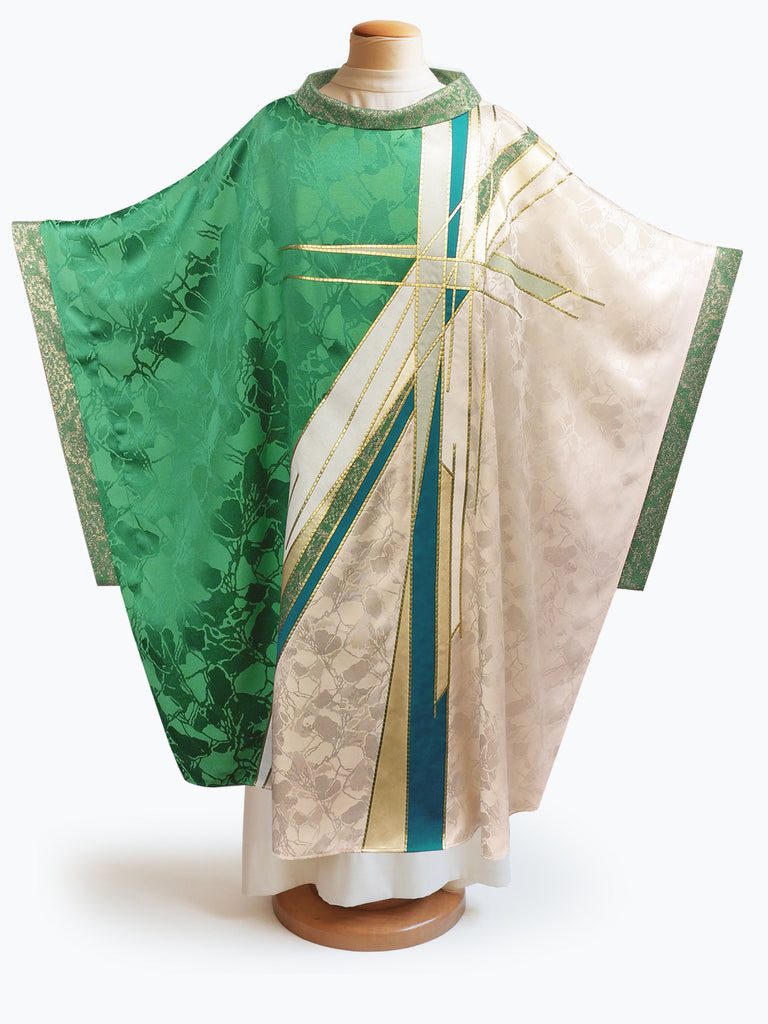 Green & White Stained Glass Cross Chasuble