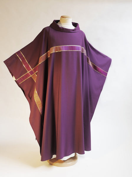 purple vestment with cross for advent and lent