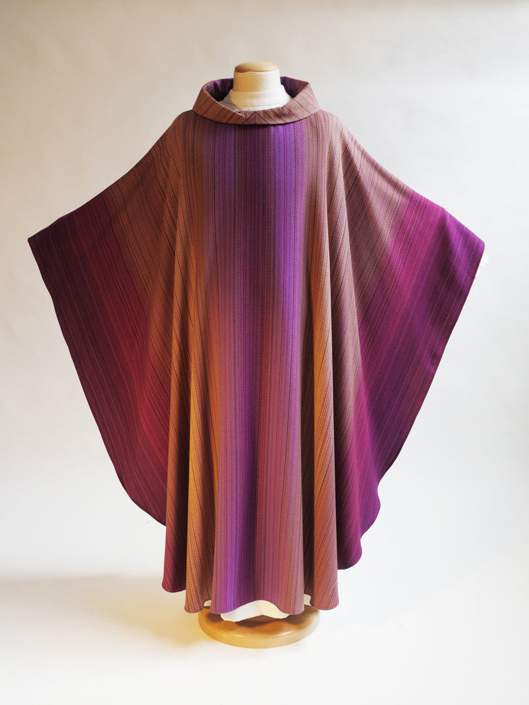 woven purple lent or advent vestment