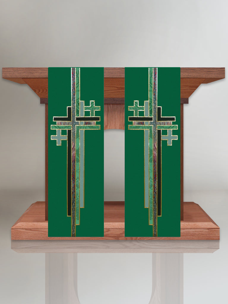 Multi Cross Green Altar Scarves