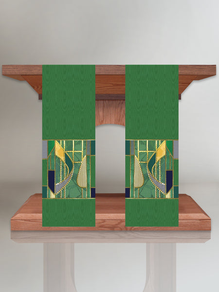 Stained Glass Green Altar Scarves
