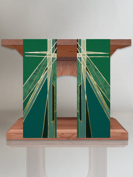 Stained Glass Cross Green Altar Scarves