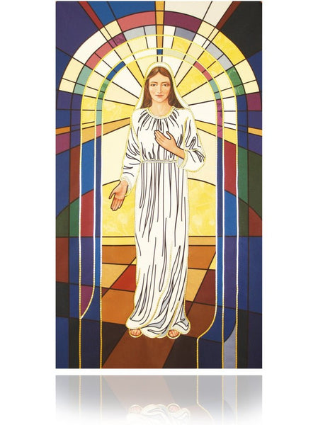 Mary with Stained Glass Banner