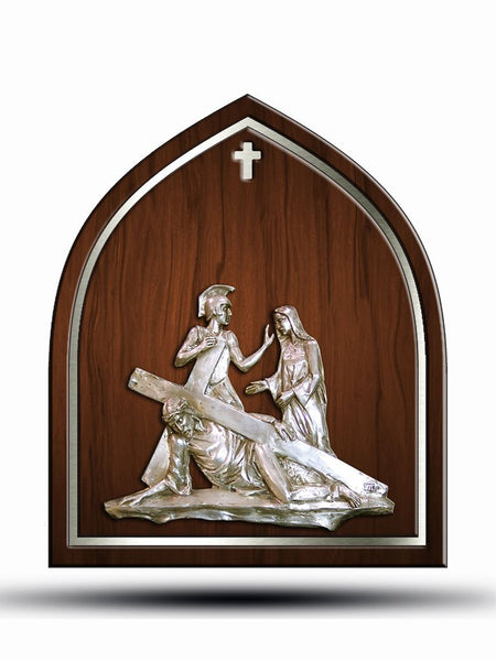 Stations of the Cross with Silver Plated Bronze on Wood