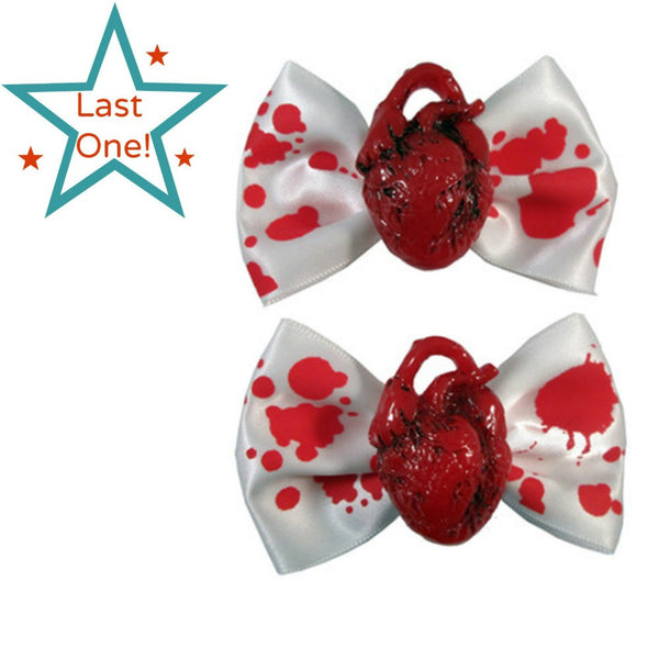 Heart Hair Bows, Hair Accessories, Midnight's Attic - Midnight's Attic