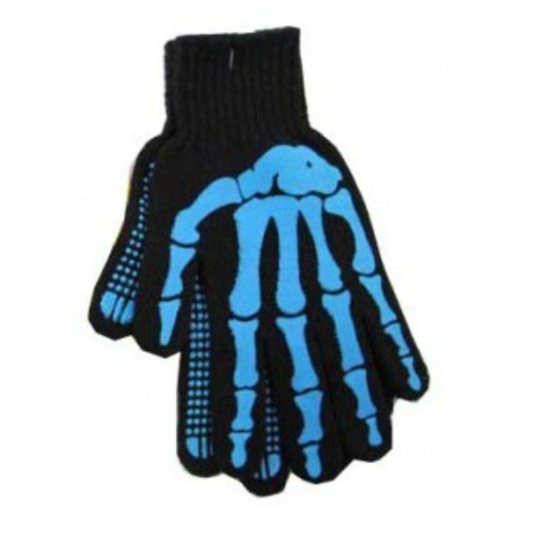 Blue Black Skeleton Work Gloves, Gloves, Midnight's Attic - Midnight's Attic