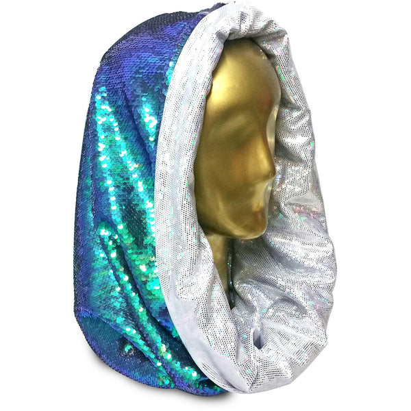 Shimmering Saphyrean Mermaid with Heavenly Hologram Halo Infinity Hood