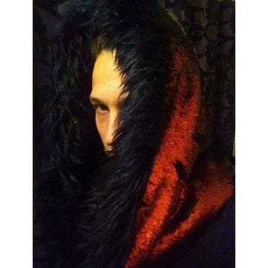 Big Bad Wolf Red Riding Hood - Faux Fur Infinity Scarf Hoodie - Dragon Scale Reversible Sequin - Stardust Love