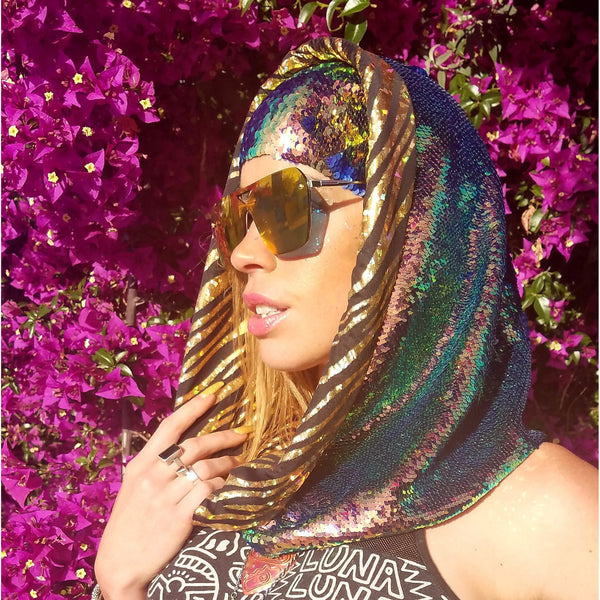 Limited Edition - Blue Nile Hologram Tiger Cosmic Hoodie Infinity Scarf - Color Changing Dragon Scale Reversible Sequins - The Lucid Lizard Collection