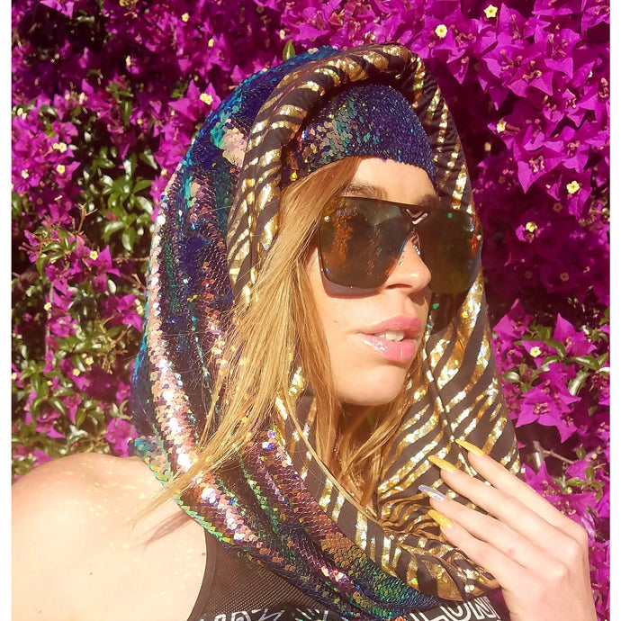 Limited Edition - Blue Nile Hologram Tiger Cosmic Hoodie Infinity Scarf - Stardust Love