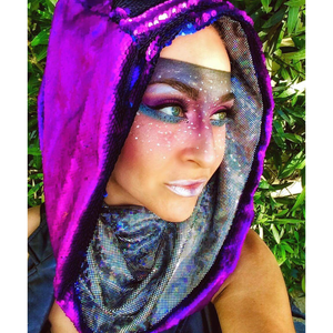 Indusian Indigo Anubis with Lunar Leopard Lake Infinity Hood - Stardust Love