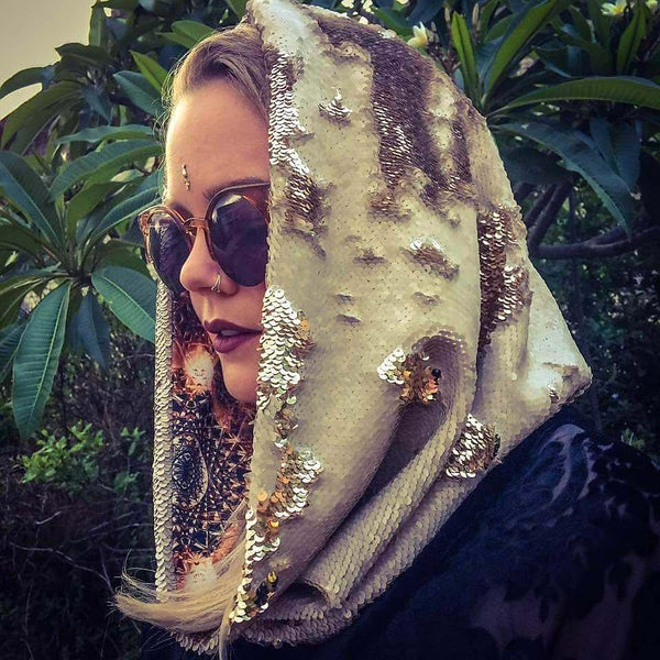Boho Sacred Geometry Cosmic Hoodie Infinity Scarf with Color Changing Gold and Cream Dragon Scale Reversible Sequins