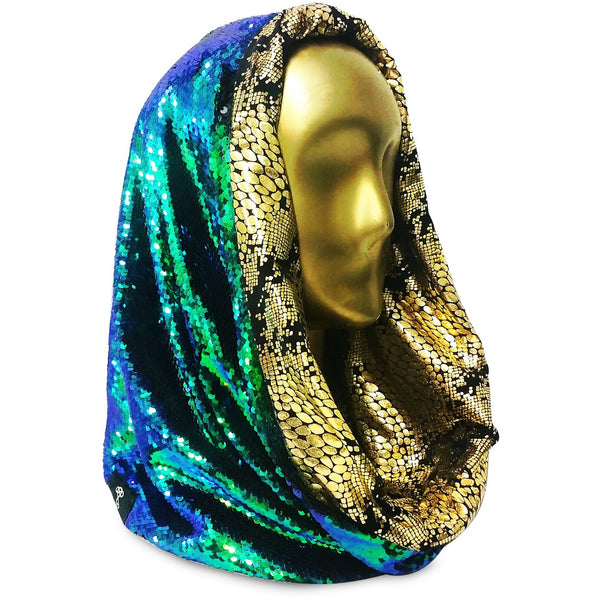 Golden Cobra Dragon Cosmic Hoodie Infinity Scarf with Black and Green Color Changing Dragon Scale Reversible Sequins