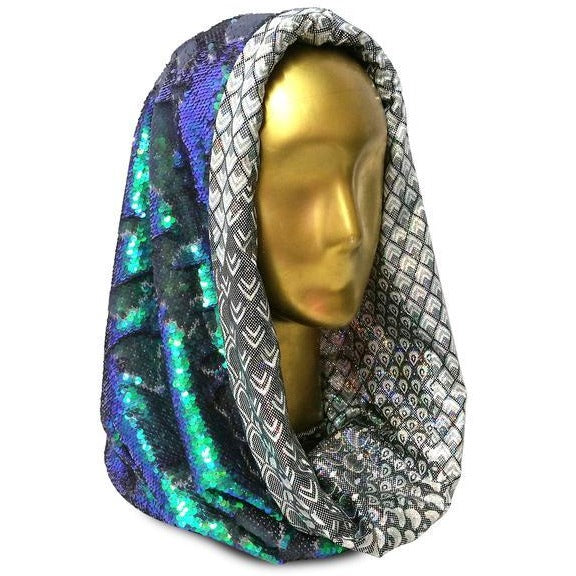 Shimmering Saphyrean Mermaid with Hologram Feathers & Scales Infinity Hood