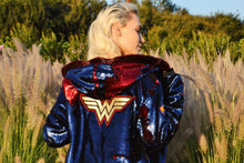 Wondrous WONDER WOMAN Sparkle Hoodie Jacket - Stardust Love Superhero Jacket Series