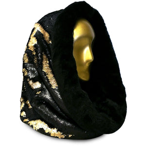 Baratheon Black & Tan with Exquisite Midnight Mink Cosmic Hoodie Infinity Scarf - Stardust Love