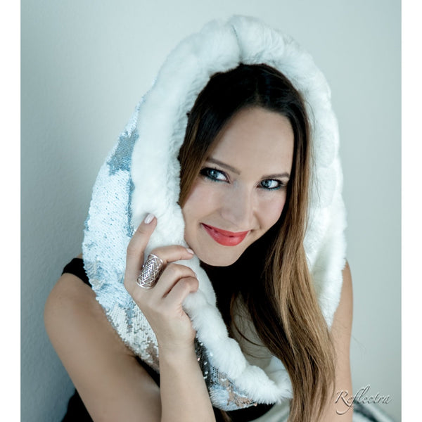 White Rabbit Moonwalk Cosmic Hoodie Infinity Scarf with Color Changing Dragon Scale Sequins and Luxurious Arctic Rabbit Faux Fur