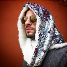 Unicorn Rainbow Sparkles with Plutonian Polar Bear Infinity Hood - Stardust Love