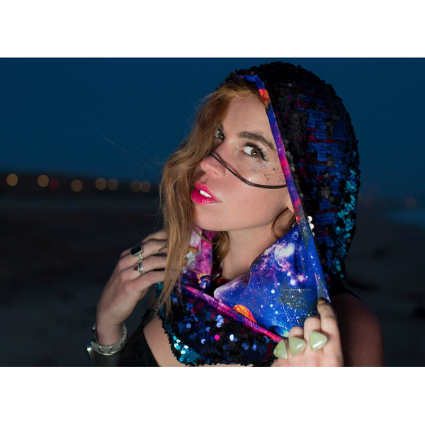 Rainbow Galaxy Kaleidoscope Cosmic Hoodie Infinity Scarf Festival Fashion Accessory