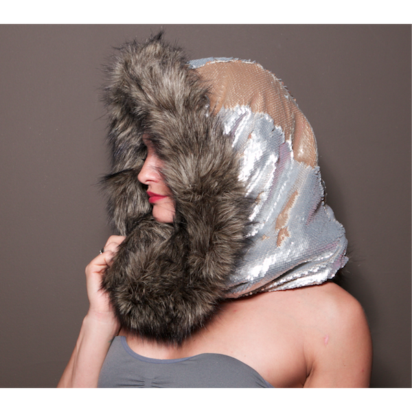 Sahara Desert Dragon Wolf Infinity Scarf Hood - Tan / Gray Earth Tone Reversible Sequin - Gorgeous Grey Wolf Faux Fur - Burning Man Fur