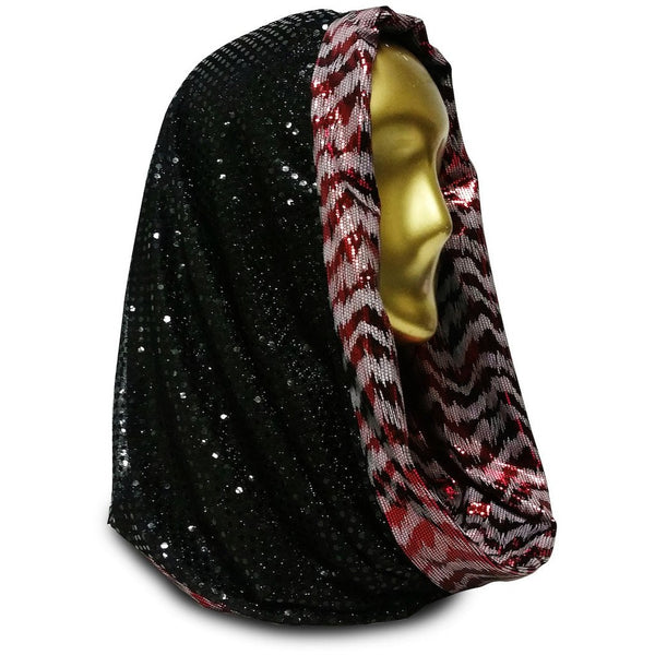 Black Hole Sunshield with Martian Blood Tiger Infinity Scarf Hood