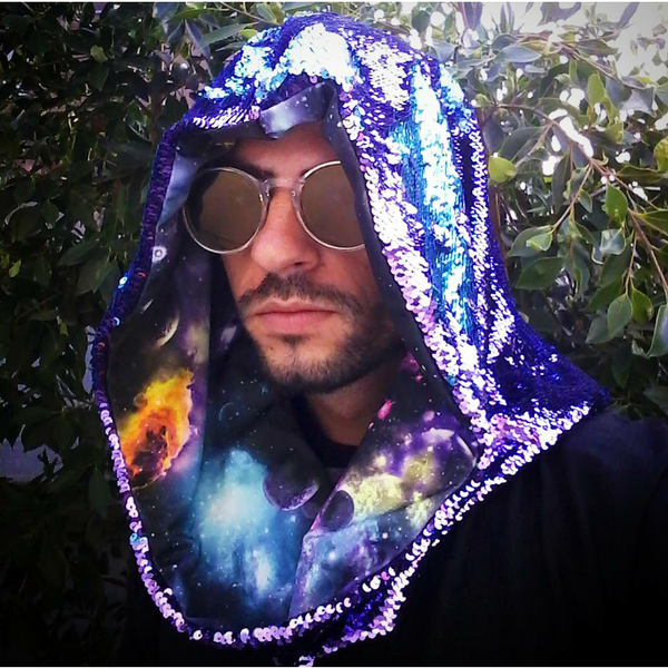 Neon Nebula Cosmic Hoodie Infinity Scarf with Indigo and Teal Color Changing Dragon Scale Reversible Sequins