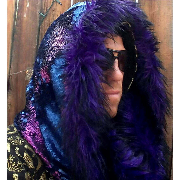 Royal Indigo Hieroglyphs Cosmic Hoodie Infinity Scarf with Purple and Blue Color Changing Dragon Scale Reversible Sequins and Luxurious Purple Wolf Faux Fur