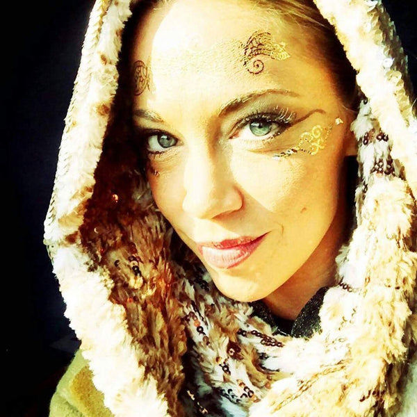 Galactic Golden Glow with Endorian Ewok Fur Elegance Infinity Scarf Hood - Real Pieces of C3PO - Star Wars Hoodie