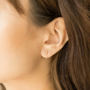 Thin Bar Studs - 10k Solid Gold
