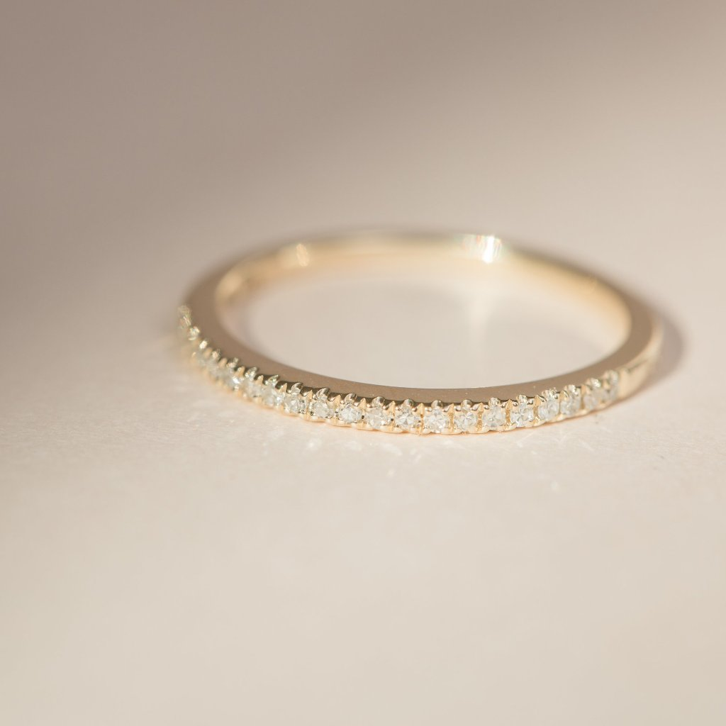 Pave Diamond Band - 14k Solid Gold
