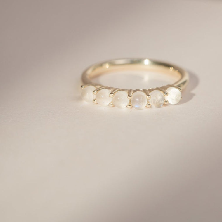 Stone Band Ring - 14k Solid Gold