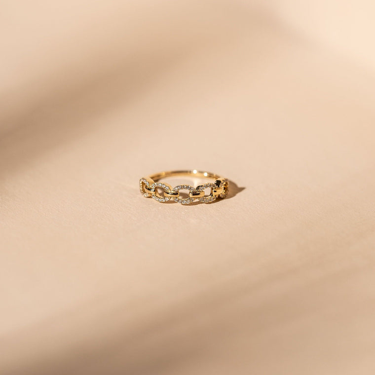 *Made to Order* Diamond Link Ring - 14k Solid Gold