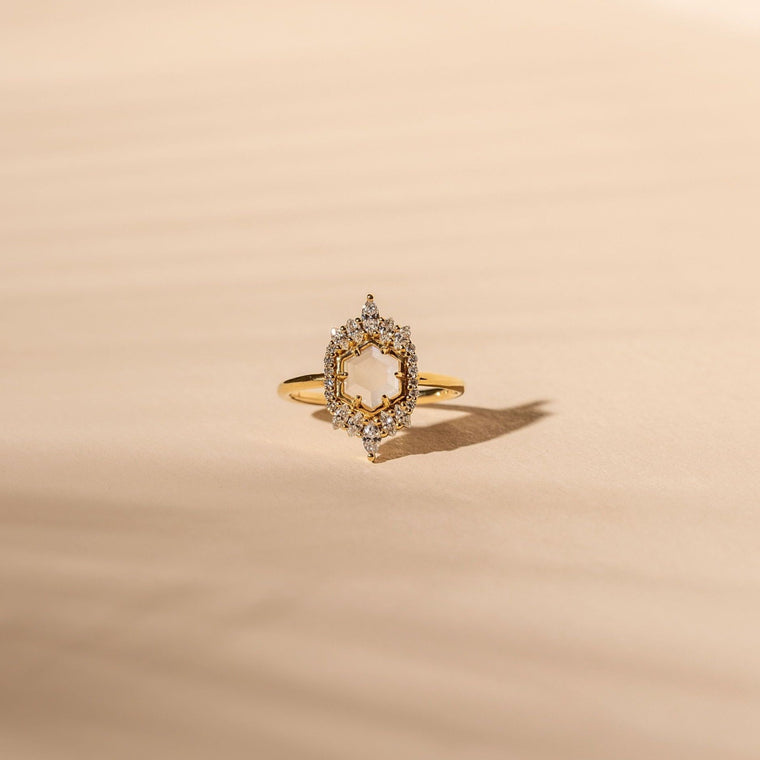 *Made To Order* Medina Ring - 14k Solid Gold/Queen Moonstone