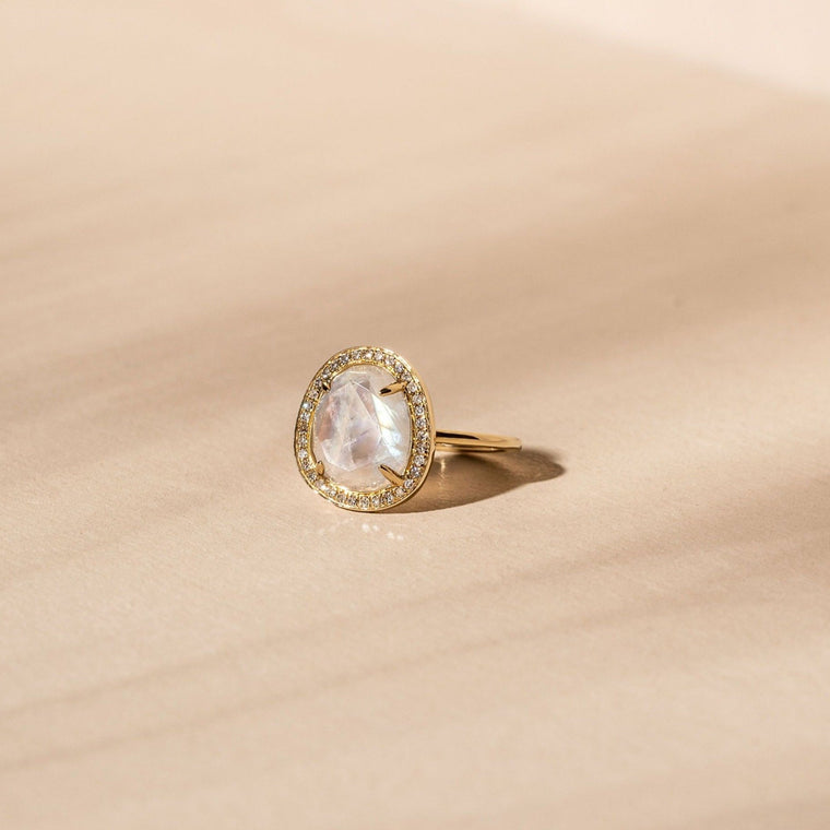 Stone Slice Ring - 14k Solid Gold