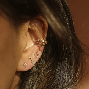 Studded Ear Cuff - 14k Solid Gold