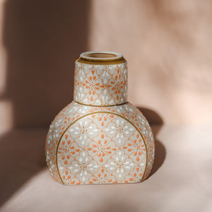 Hand Painted Pink Tile Carafe