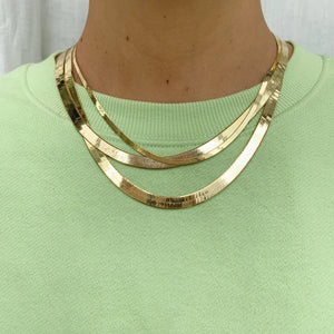 Medium Herringbone Chain - Gold Vermeil