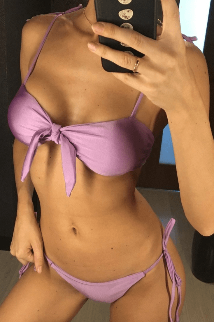 Lavender Glitter Bandeau Bikini Set - Heartbreaker International - Two Piece