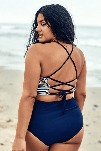 Tank Top Lace Up Bikini Set - Heartbreaker International - Plus Size