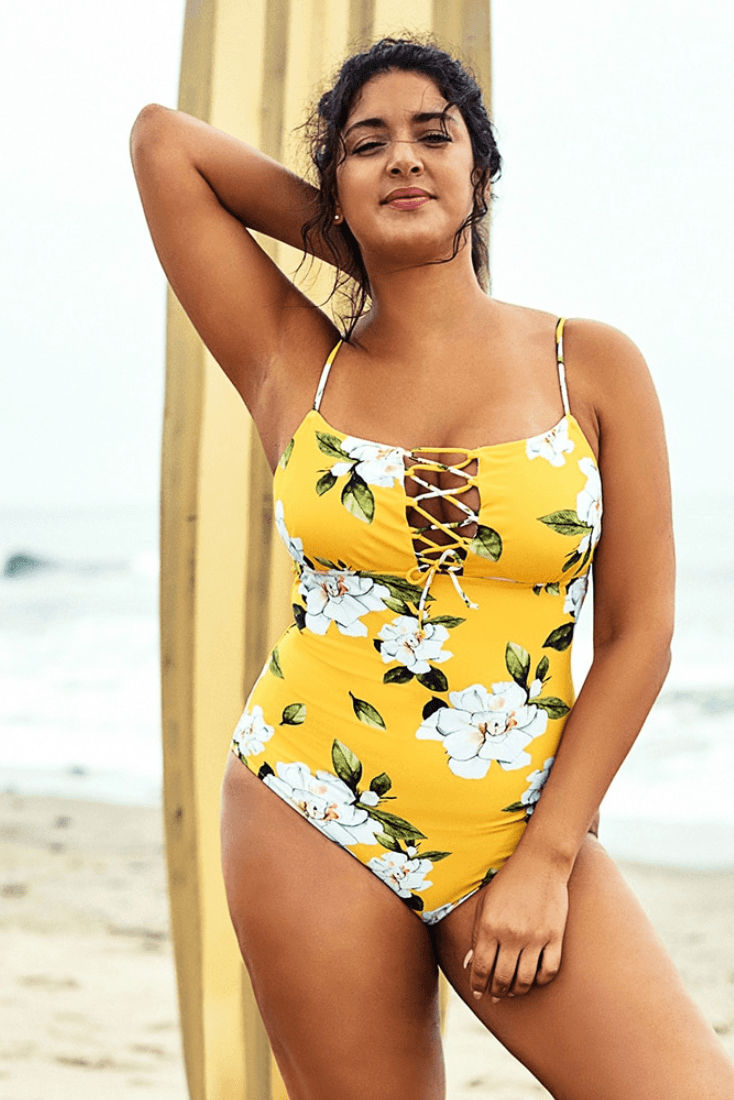 Yellow Floral Print Lace Up One Piece Swimsuit - Heartbreaker International - Plus Size