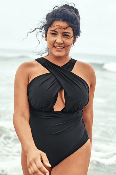 Black Cross One Piece Swimsuit - Heartbreaker International - Plus Size