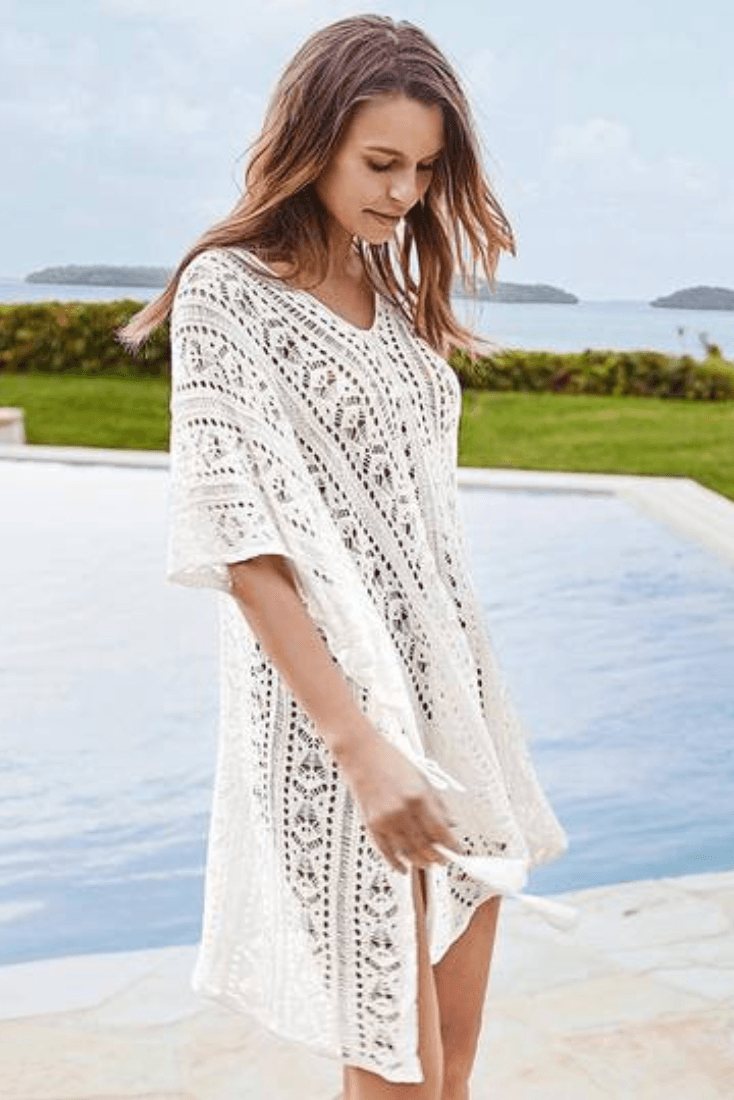 White Hollow-Out Cover Up - Heartbreaker Swimwear