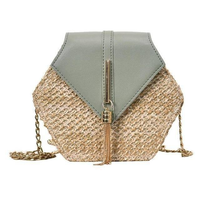 Hexagon Straw Shoulder Bag - Heartbreaker International bags